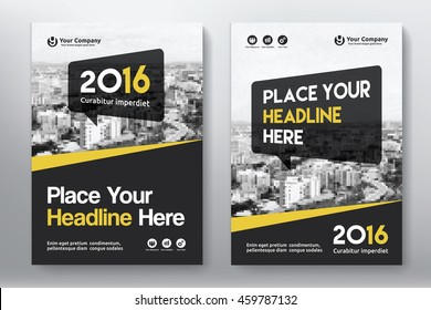 Yellow Color Scheme with City Background Business Book Cover Design Template in A4. Can be adapt to Brochure, Annual Report, Magazine,Poster, Corporate Presentation, Portfolio, Flyer, Banner, Website.