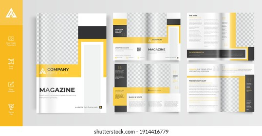 Yellow color shape company 8-page brochure template layout Vector
