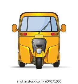 yellow color tuk-tuk or three wheeler front view-vector drawing