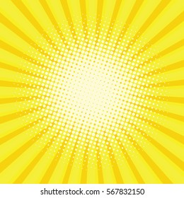 Yellow colored back pop art style background. backdrop line space. sun beam template. Vector illustration