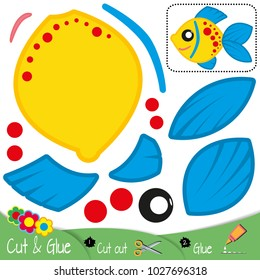 Yellow colorful fish with blue fins and red circles. Education paper game for preshool children. Vector illustration.