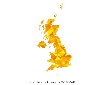 Yellow Colors Low Polygon Style United Kingdom Map Vector EPS10
