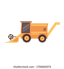 Yellow combine harvester truck isolated on white background - agriculture industry harvesting machinery for collecting wheat grain. Flat vector illustration