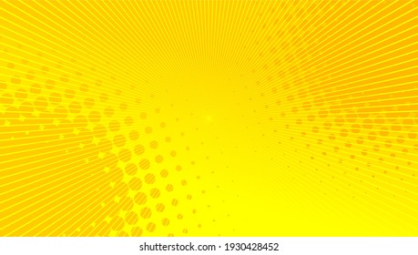 Yellow comic background with sun burst and dot halftone