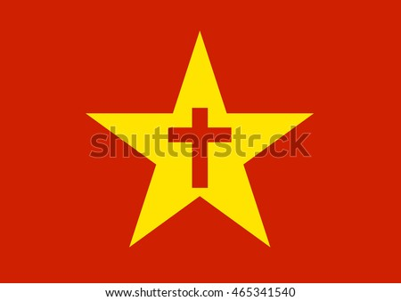 Yellow Communist Star Cross Metaphor Head Stock Vector Royalty Free