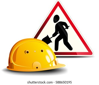 Yellow construction helmet and a red sign are working isolated on white background