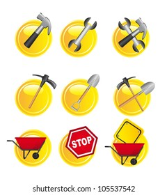 yellow construction signs over white background. vector