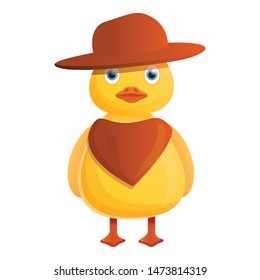 Yellow cowboy duck icon. Cartoon of yellow cowboy duck vector icon for web design isolated on white background