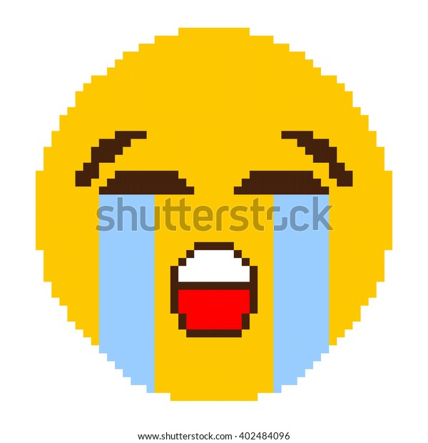 Yellow Cry Face Pixel Art Stock Vector Royalty Free 402484096