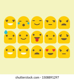 Yellow Cute Emoticon Vector Set