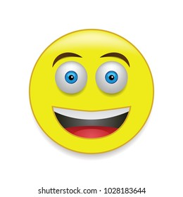 Yellow, cute and happy emoticon isolated on the white background