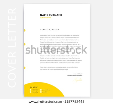 Yellow Cv Cover Letter Template Design Stock Vector Royalty Free