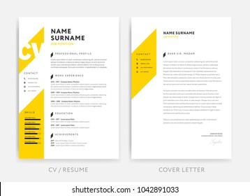 Yellow CV curriculum vitae and cover letter design template. Creative vector layout.