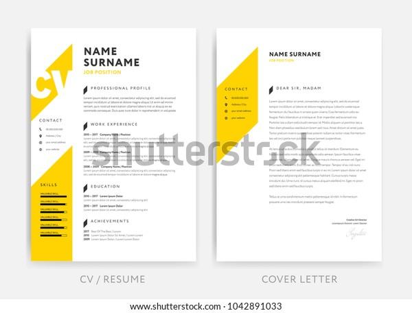 Yellow Cv Curriculum Vitae Cover Letter Stock Vektorgrafik