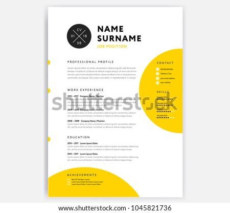 Yellow Cv Resume Template Curriculum Vitae Image Vectorielle De