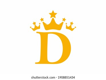 Yellow D initial letter with triple crown symbol logo