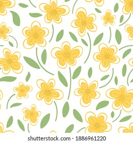 Yellow daisies on a white background are a seamless pattern. Vector illustration in the style of doodle. Design for textiles, postcards, packaging.Botanical pattern.