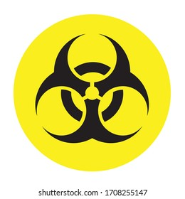 Yellow Danger Coronavirus Biohazard Warning. Biohazard symbol, sign of biological threat alert . Lockdown pandemic stop Coronavirus outbreak covid-19 symptoms warning and quarantine