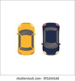 Yellow and Dark Blue Ordinary Cars