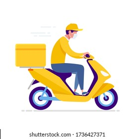 Yellow delivery moto scooter, courier in respiratory mask. Online order and food or product express delivery home and office in quarantine COVID-19 in the city.  Vector illustration