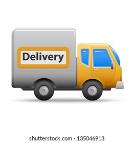 Yellow delivery truck or van  - icon isolated on white background. Vector illustration