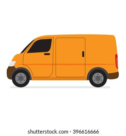 Yellow Delivery Van Transporter in Flat Style Vector