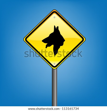 yellow diamond hazard warning sign against stock vector royalty