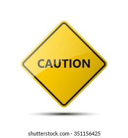 yellow diamond road sign with a black border and an image CAUTION on white background. Vector Illustration