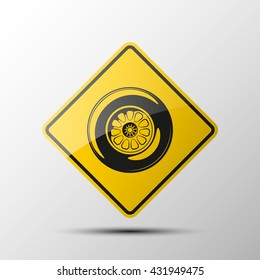 yellow diamond road sign with a black border and an image a sport wheel on white background. Vector Illustration