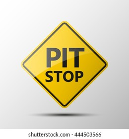 yellow diamond road sign with a black border and an image pit stop, sticker on white background. Vector Illustration