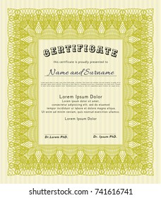 Yellow Diploma or certificate template. Detailed. With complex background. Elegant design.