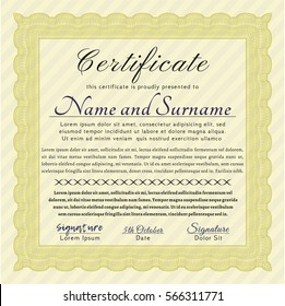 Yellow Diploma or certificate template. Money Pattern design. With complex background. Vector illustration.