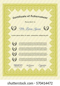 Yellow Diploma template or certificate template. Customizable, Easy to edit and change colors. Easy to print. Lovely design.