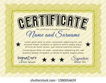 Yellow Diploma template or certificate template. With linear background. Customizable, Easy to edit and change colors. Artistry design.