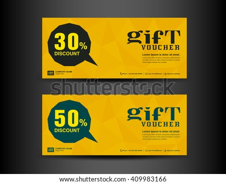 Yellow Discount Voucher Template Coupon Designticket Stock Vector ...