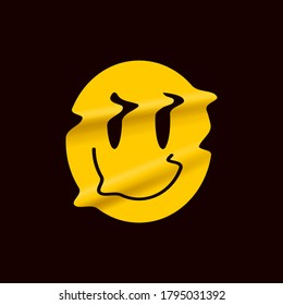 Yellow distorted smile emoji isolated on black background. Yellow smile face logo sticker or poster template for stand up comedy show. Vector illustration.