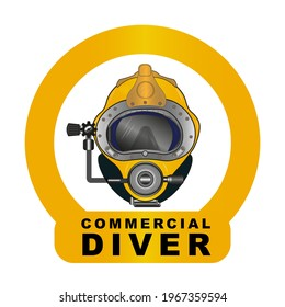 Yellow Diving helmet vector drawing - Commercial Diver