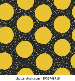 Yellow Dots on black background. Seamless pattern. Vector