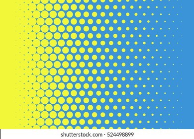 Yellow dots on blue background Halftone pop art design Light effect Vector illustration for website, card, poster