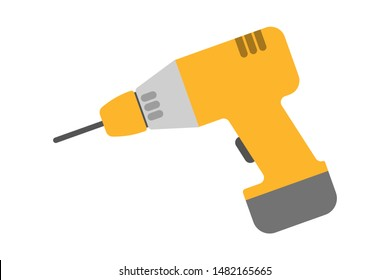 Yellow drill. Electric device for the home repair. Household instrument. Isolated vector illustration in flat style