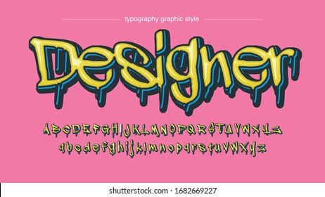 Yellow Dripping Graffiti Style Typography Artistic Text Effect