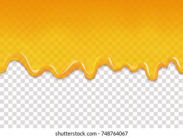 Yellow drips seamless background. Lemon orange jelly or honey drops horizontal vector