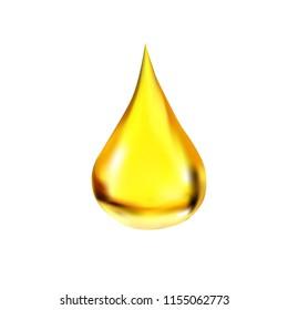 yellow drop of honey oil realistic illustration, vector