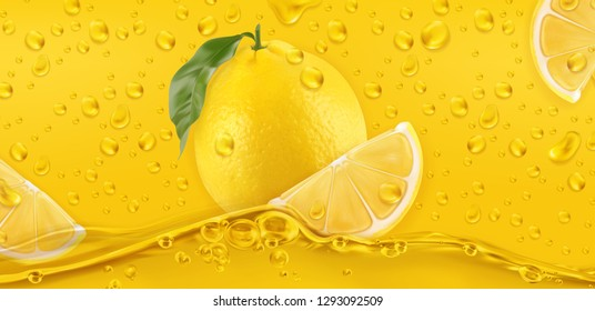 Yellow drops. Lemon. 3d realistic vector