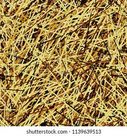 Yellow dry straw. Vector texture.