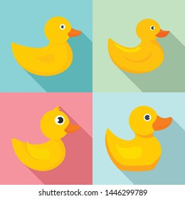 Yellow duck icons set. Flat set of yellow duck vector icons for web design