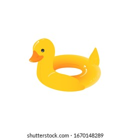 Yellow duck inflatable ring - cartoon drawing of rubber toy for children swimming safety and pool vacation photo - isolated vector illustration on white background