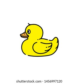Yellow duck line icon. Rubber duckling toy symbol. Vector illustration.