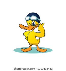 Yellow Duck Swim Mascot. Happy duck cartoon. Cartoon duck. Isolated object for design element. Vector illustration of a little cartoon duck for design element