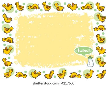 yellow duckies frame for TWINS (vector) - illustrated background